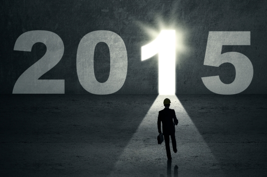Silhouette businessman carrying briefcase and walk into a future door to his dream in 2015